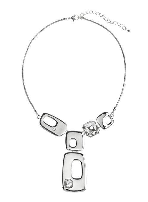 Geometric Y-Necklace, Silver, hi-res