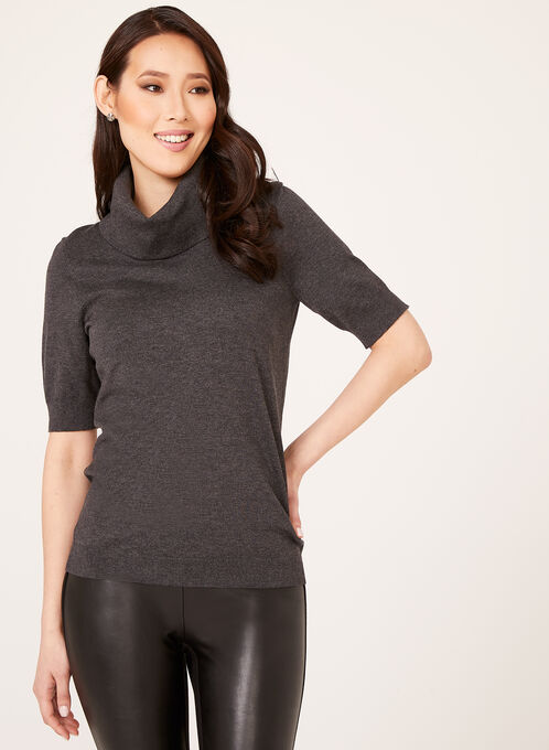 Cowl Neck Short Sleeve Sweater, Grey, hi-res