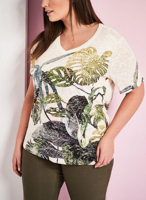 Crystal Embellished Palm Print T-Shirt, White, hi-res