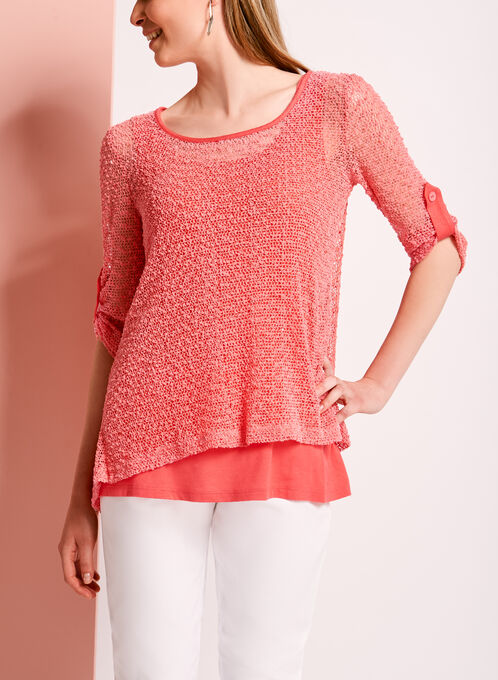 3/4 Sleeve Mesh Knit Double Layer Top, Orange, hi-res