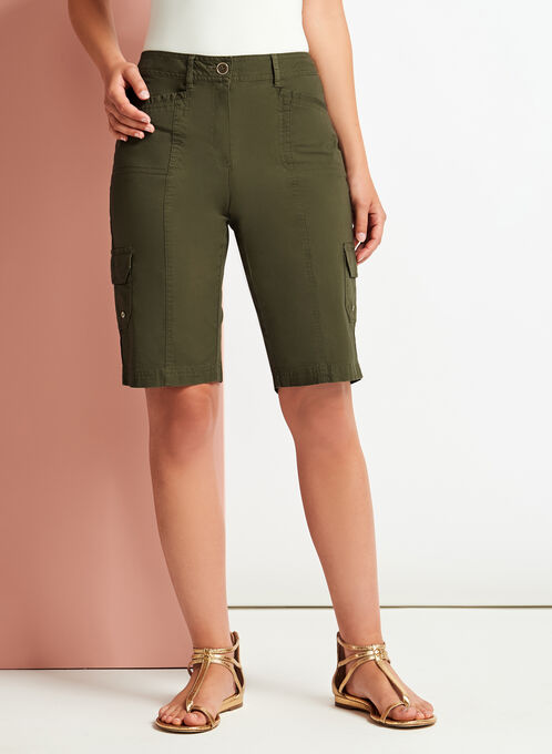 Modern Fit Cargo Shorts, Green, hi-res