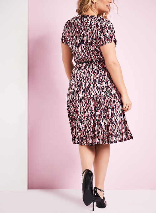 Check Print Belted Jersey Dress, Red, hi-res
