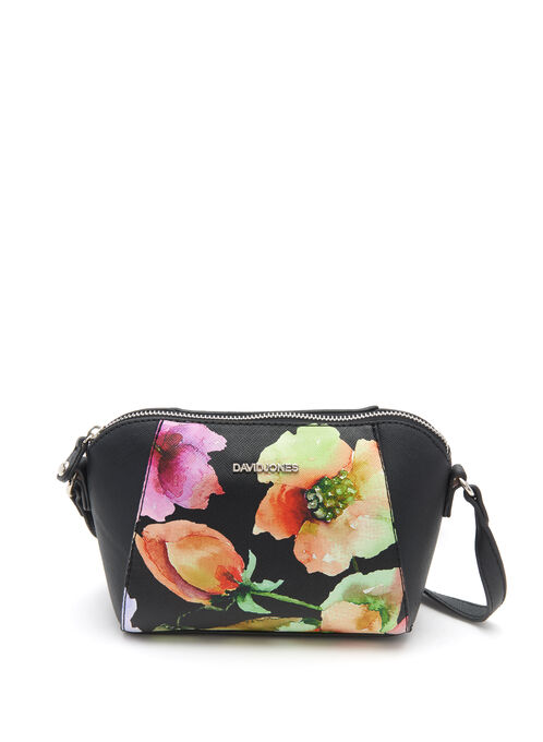 Floral Motif Crossbody Bag, Black, hi-res