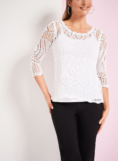 Crochet Sweater with Matching Tank, White, hi-res