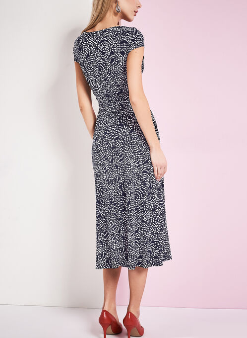 Jersey Dot Print Dress, Blue, hi-res