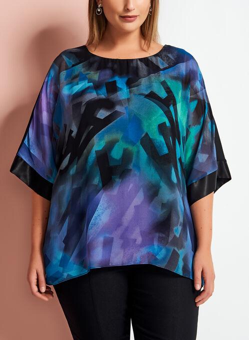 Frank Lyman Graphic Print Kimono Sleeve Blouse , Black, hi-res