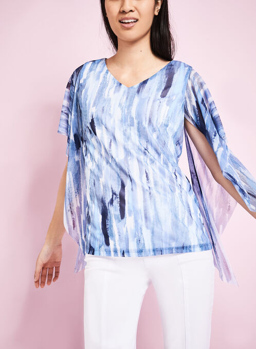 Abstract Print Poncho Blouse, Blue, hi-res