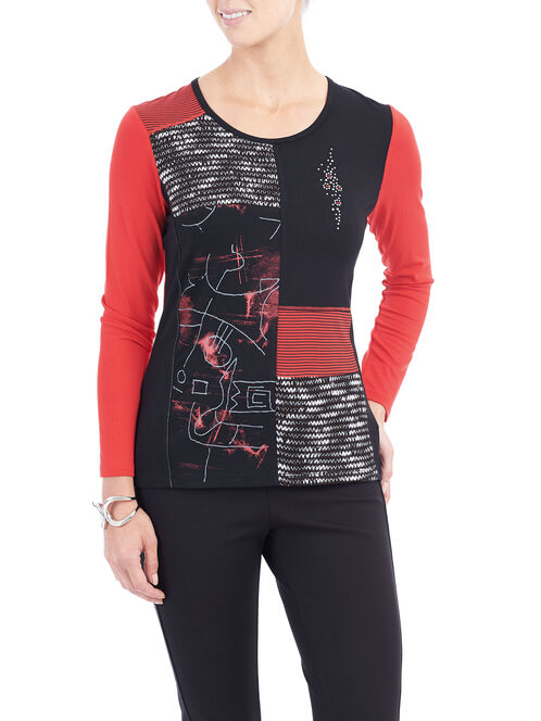 Long Sleeve Patchwork Detail Top, Red, hi-res