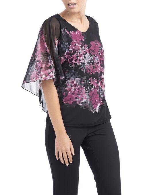 3/4 Sleeve Printed Poncho Top, Multi, hi-res