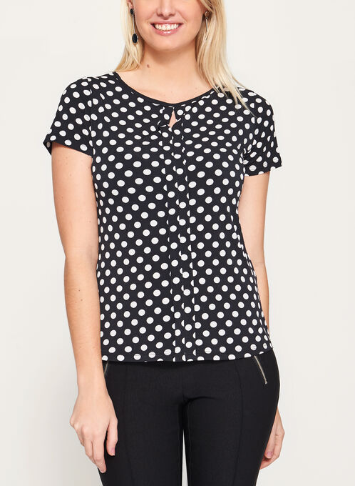 Polka Dot Print keyhole Top, Black, hi-res