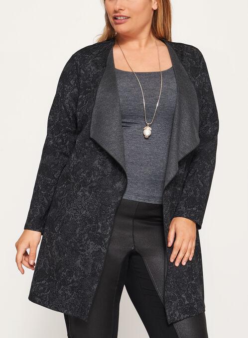 Lace Print Open Front Cardigan, Grey, hi-res