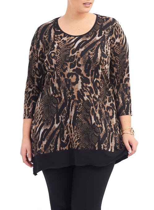 Animal Print Knit Tunic Top, Black, hi-res