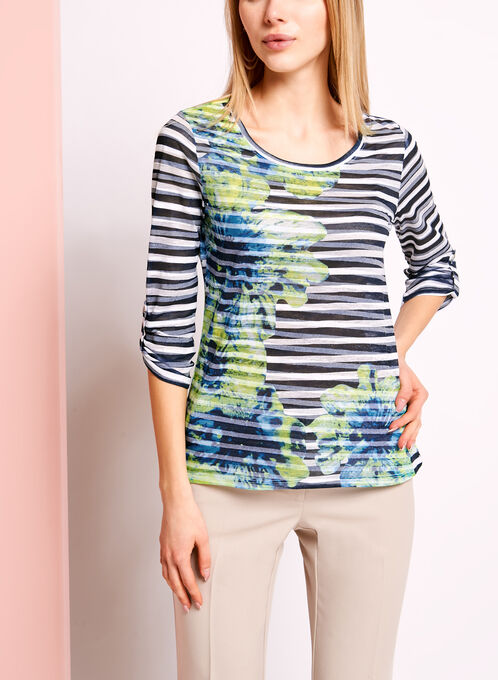3/4 Sleeve Floral & Stripe Print Top, Green, hi-res