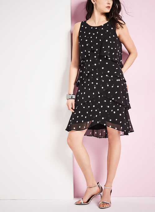 Tiered Dot Print Dress, Black, hi-res