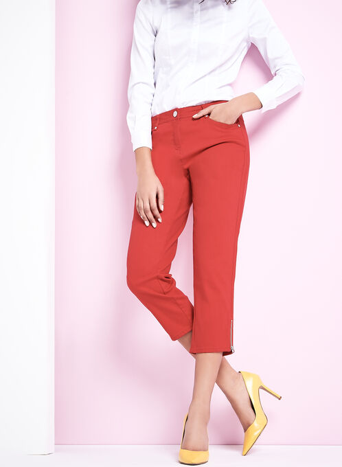 Straight Leg Jean Capris, Red, hi-res
