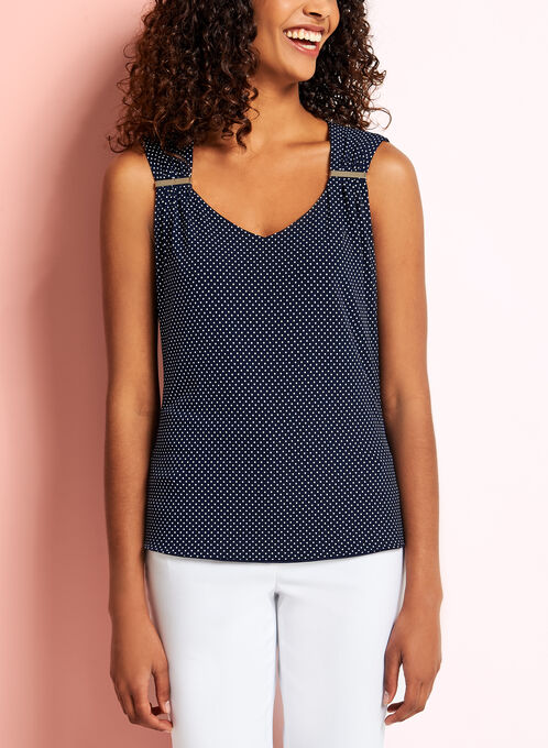 Sleeveless Dot Print Ruched Top, Blue, hi-res