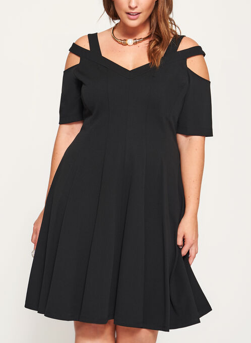 Cold Shoulder Scuba Fit & Flare Dress, Black, hi-res