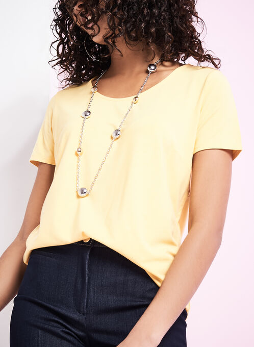 Scoop Neck Short Sleeve T-Shirt, Yellow, hi-res
