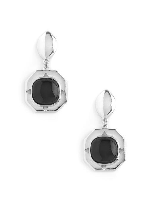 Square Stone Earrings, Black, hi-res