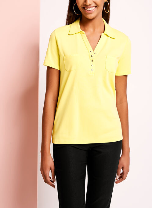 Short Sleeve Dual Pocket Polo , Yellow, hi-res