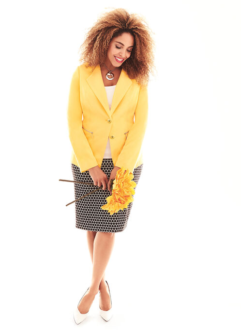 Zipper Trim & Wing Collar Blazer, Yellow, hi-res