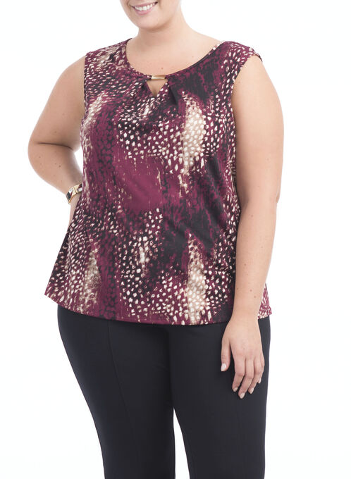 Abstract Animal Print Top, Red, hi-res