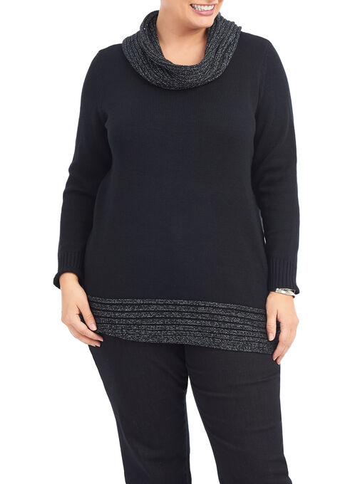 Lurex Cowl Neck Sweater, Black, hi-res