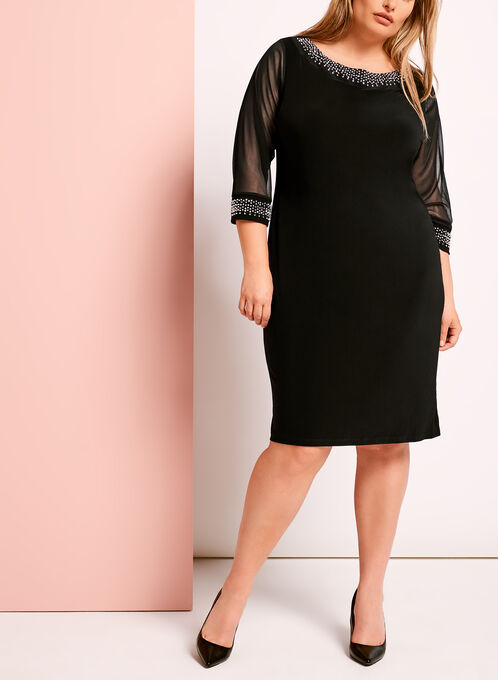 Embellished Boat Neck Shift Dress, Black, hi-res