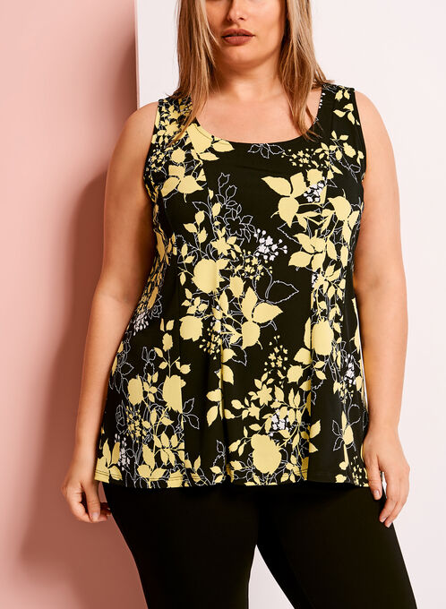 Scoop Neck Floral Print Top, Yellow, hi-res
