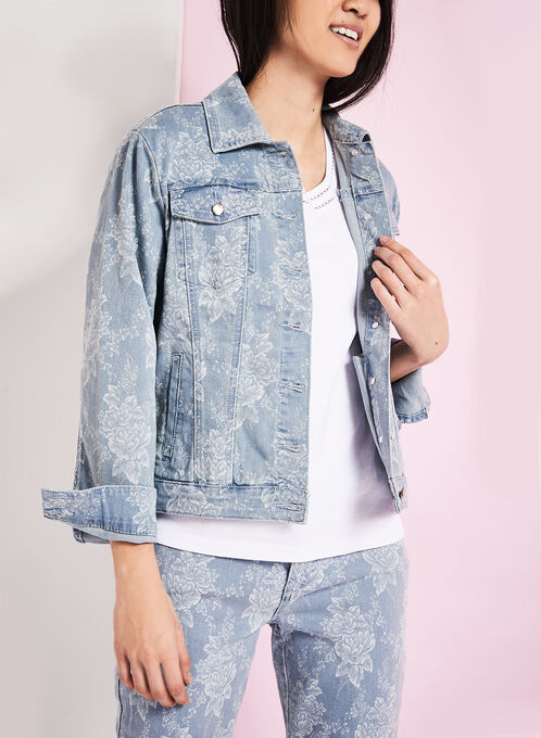 Simon Chang Floral Print Chambray Jean Jacket, Blue, hi-res