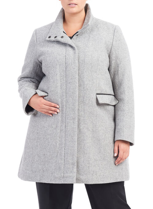 Novelti Brushed Wool Coat, Grey, hi-res