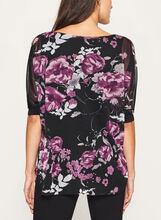 Floral Print Dolman Sleeve Blouse, Black, hi-res