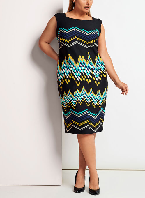 Zig Zag Print Midi Dress, Blue, hi-res