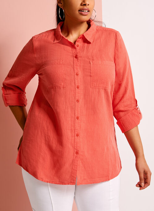 Short Sleeve Linen Button Down Shirt, Red, hi-res