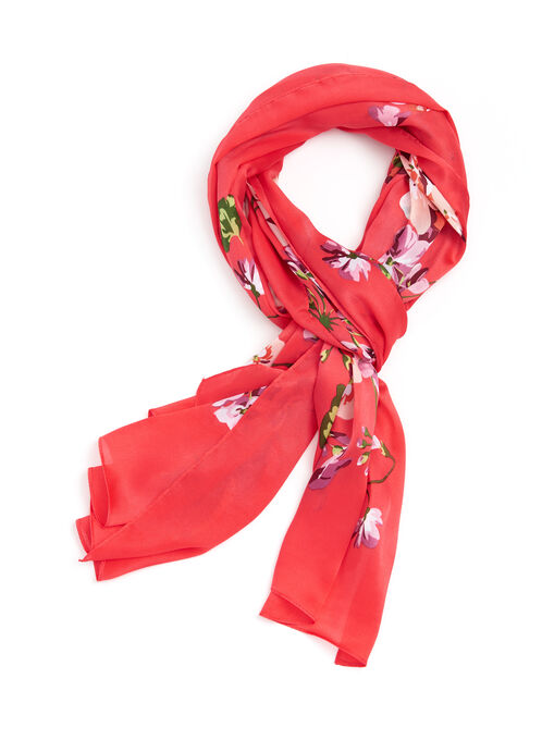 Oblong Floral Print Scarf , Orange, hi-res