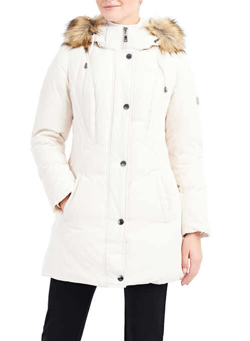 Faux Fur Down Coat , Off White, hi-res