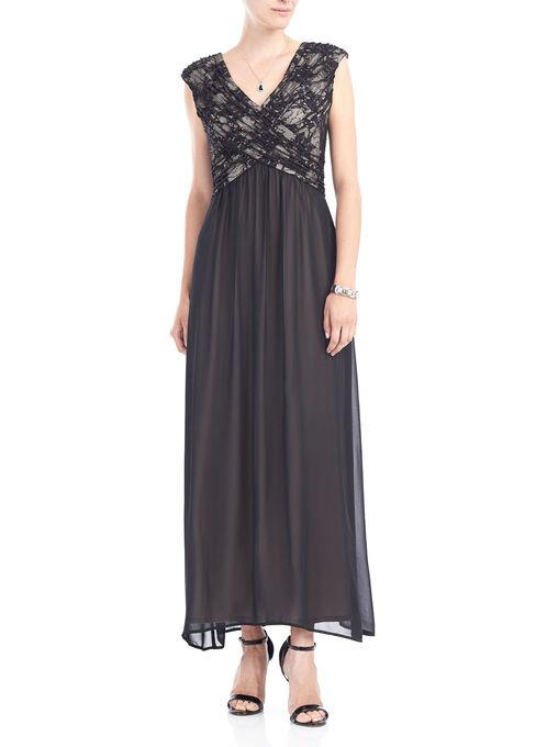 Sleeveless Chiffon & Sequin Gown , Black, hi-res