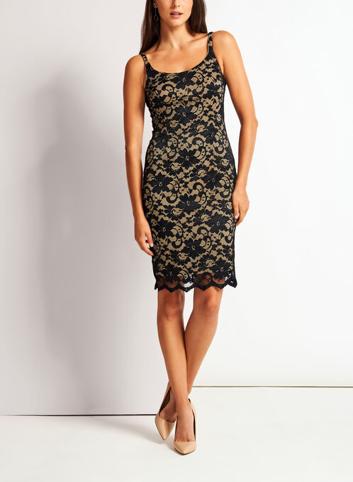 Floral Lace Sheath Dress, Black, hi-res