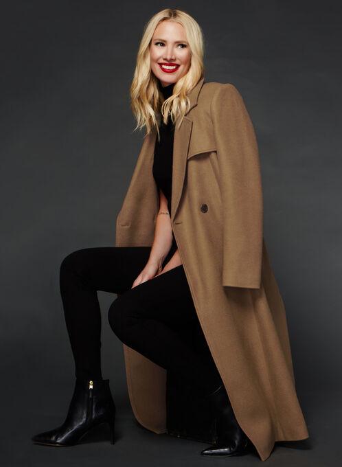 Novelti - Wool-Like Double Breasted Coat, Brown, hi-res