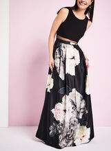 Popover Top & Floral Print Gown, Black, hi-res