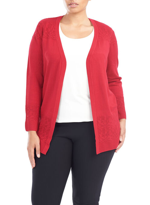 Ribbed Pointelle Cardigan, Red, hi-res