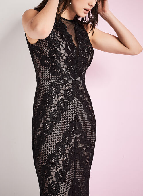 Chevron Print Lace Gown , Black, hi-res