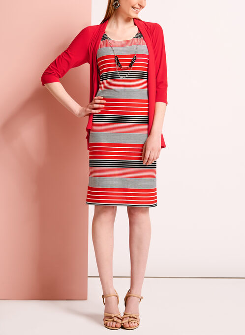 Two Piece Rib Stripe Dress with Jacket, Red, hi-res
