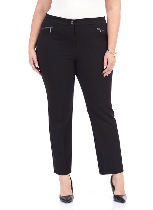 Zip Pocket Straight Leg Pants, Black, hi-res
