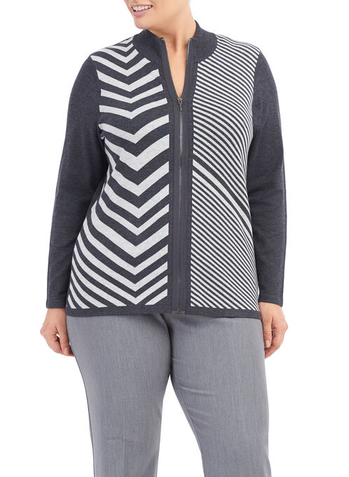 Printed Mock Neck Cardigan , Grey, hi-res