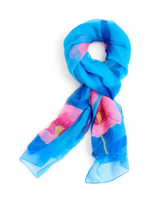 Floral Print Oblong Scarf, Blue, hi-res