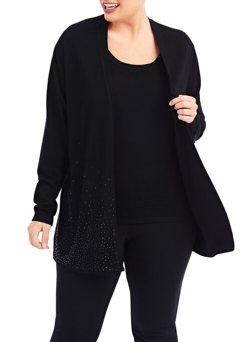 Rhinestone Studded Knit Cardigan, Black, hi-res