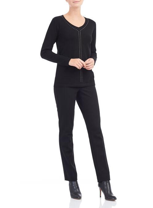 Long Sleeve Stud Trim Sweater, Black, hi-res