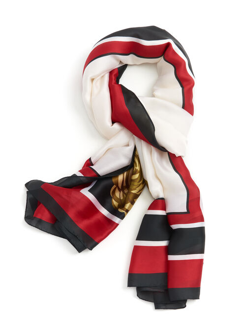Border Stripe Print Scarf, Red, hi-res