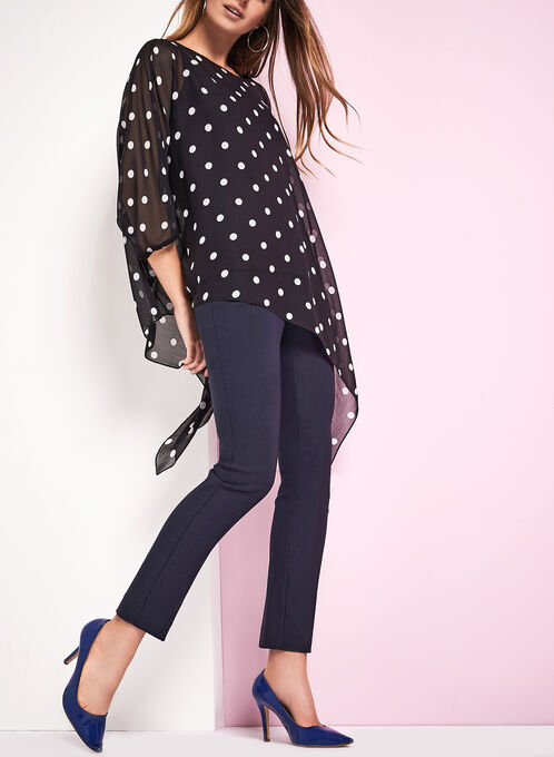 Dot Print Poncho Blouse, Black, hi-res